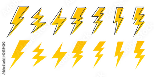 Canvas Print Set Modern Lightning bolt vector illustration