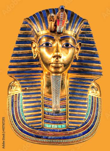 Obraz na plátně Egyptian pharaoh Tutankhamun's burial mask on yellow background