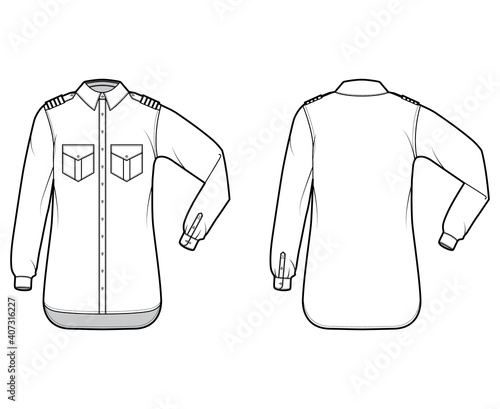 Slika na platnu Shirt pilot airline technical fashion illustration with chevron, elbow folded long sleeves, angled flap pockets