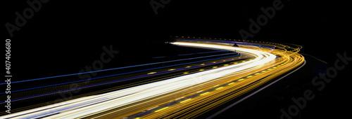 Canvas Print abstract yellow car lights at night. long exposure