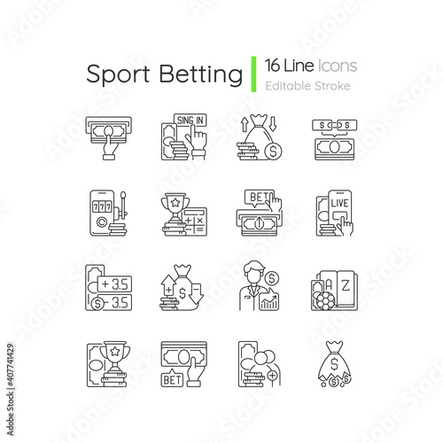 Canvas Sports betting linear icons set