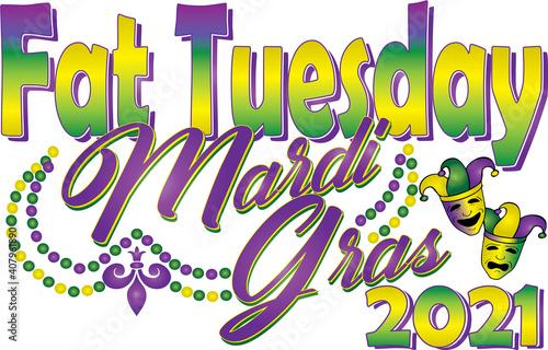 Photo Fat Tuesday Mardi Gras 2021 Graphic