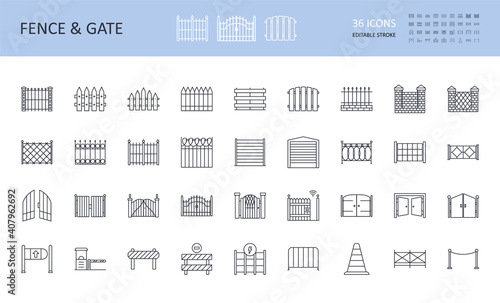 Leinwand Poster Vector fence and gate icons, road signs