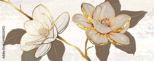 Luxury white magnolia foil metallic background vector with golden metallic home decorate wall art