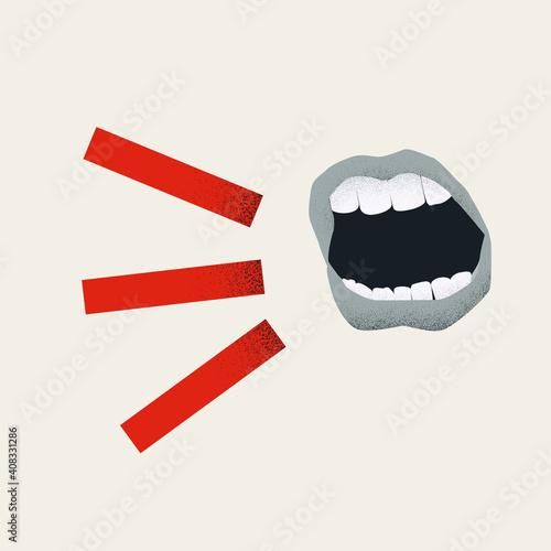 Vászonkép Mouth shouting in anger vector concept