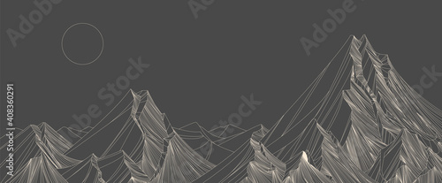 landscape wallpaper design with set sail champangne mountain line arts, luxury background design for cover, invitation background, packaging design, fabric, and print. Vector illustration.