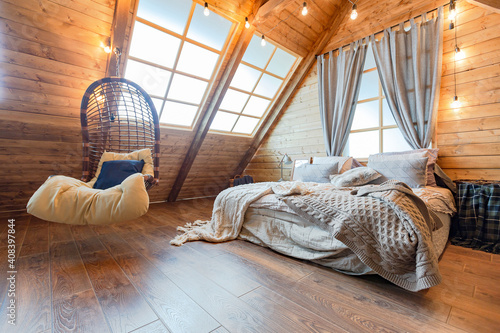 cozy all wooden interior of a country house in a wooden design Fototapeta