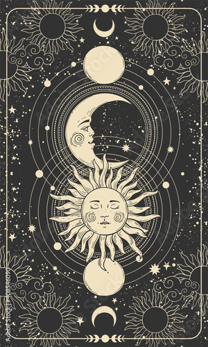 Fotografia Mystical drawing of sun with face, moon and crescent moon, background for tarot card, magic boho illustration