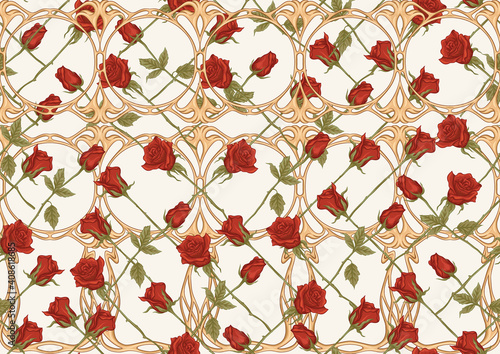 Canvas Print Vintage roses seamless pattern, background in art nouveau style, old, retro style