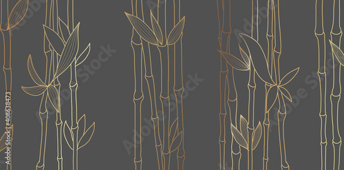 Bamboo luxury gold line design on dark background. Gold bamboo trees walpaper for wall arts, fabric, prints. Japanese pattern vector.