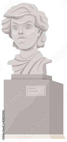 Canvastavla Concrete monument in the city park, bust isolated on white