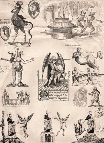 Fotomural Vertical Background based on ancient representations of demons