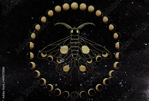 Golden lunar moth on dark watercolor background surrounded with golden moon phases Fototapeta
