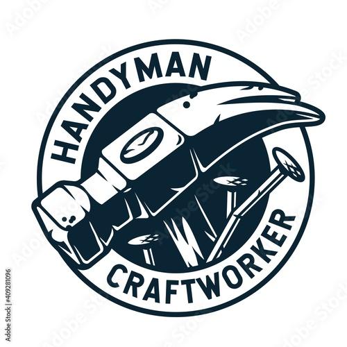 Obraz na plátně Logo of hammer and nails for craft studio or workshop