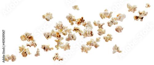 Foto Falling popcorn isolated on white background