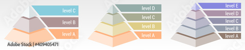 Fotografie, Obraz Simple 3d pyramid made of three, four or five thick layers, space for text right