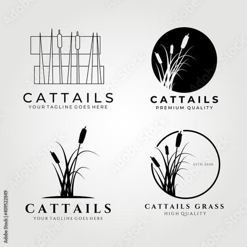 Fotografía Cattails logo set bundle vector illustration design, cattail icon