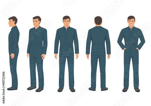 Wallpaper Mural vector illustration of man in a protective suit, worker wear on white background