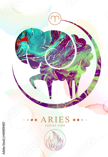 Fototapeta Modern magic witchcraft card with astrology Aries zodiac sign  with alcohol ink texture