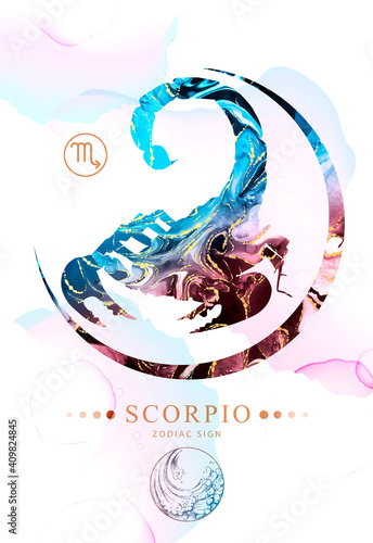Fotografie, Obraz Modern magic witchcraft card with astrology Scorpio zodiac sign  with alcohol ink texture