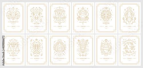 Wallpaper Mural Zodiac astrology horoscope cards linear design vector illustrations set