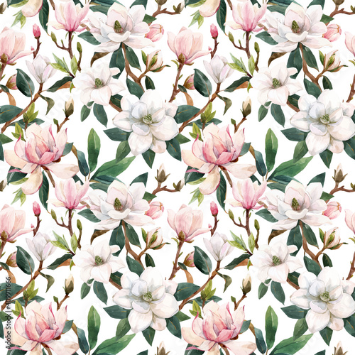 Stampa su Tela Beautiful vector seamless pattern with hand drawn watercolor gentle white and pink magnolia flowers
