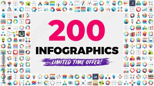 Photo The Biggest Infographics Bundle Ever - includes 200 presentation templates, such as diagrams, charts, timelines, arrows, puzzle elements etc