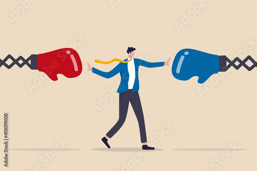 Stampa su Tela Conflict management, leadership skill to compromise and solving argument problem, negotiation or stop fighting concept, businessman leader stand in the middle to stop conflicted boxing globe fighting