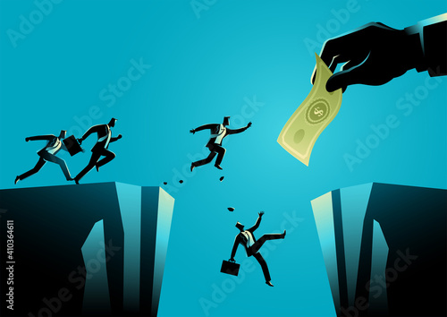Fototapeta Businessmen trying to reach the money hold by giant hand separated by a ravine