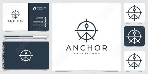 Obraz na plátne line art anchor logo design with concept target logo design