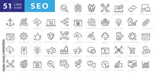 Vászonkép Outline web icons set - Search Engine Optimization