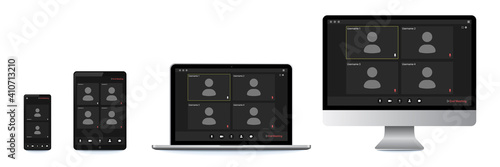 Video conference user interface, great design for any purposes Fotobehang