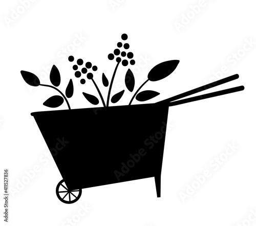 Obraz na płótnie Vector cute wheel barrow silhouette icon isolated on white background