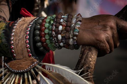 Fotografie, Tablou Midsection Of Woman Wearing Bead Bracelet