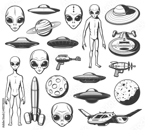 Foto Aliens, ufo and space shuttles vector retro icons