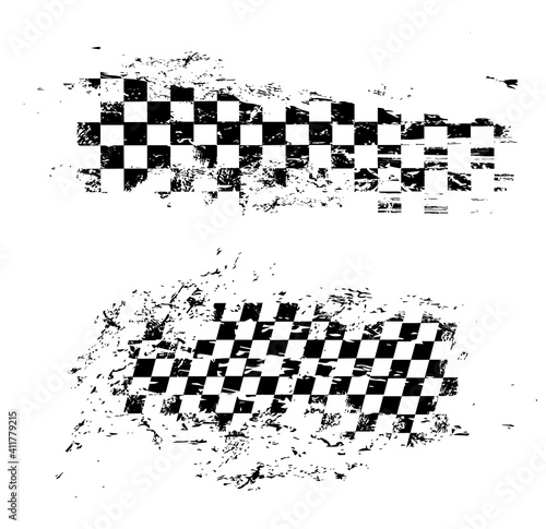 Photo Race flag grunge pattern, vector checkered monochrome sport racing flag texture isolated on white background