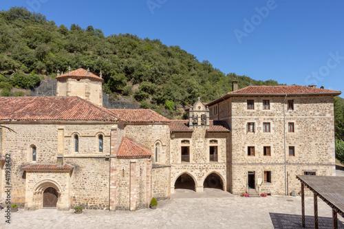 Potes, Spain - September 2, 2020: The Monastery of Santo Toribio de Liébana is a Roman Catholic monastery located in the district of Liébana, near Potes in Cantabria, Spain.
