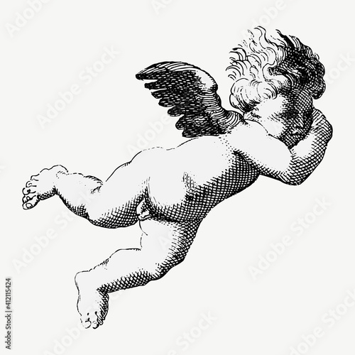 Canvas Print Vintage cupid god illustration vector
