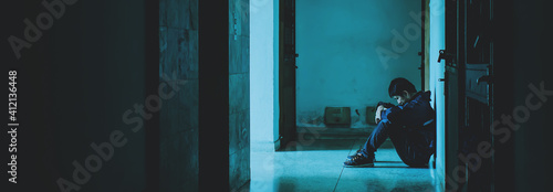 Tablou Canvas Full Length Of Sad Man Sitting On Floor