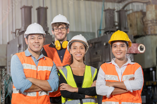Fotografie, Obraz group worker factory men and women standing with confidence and success