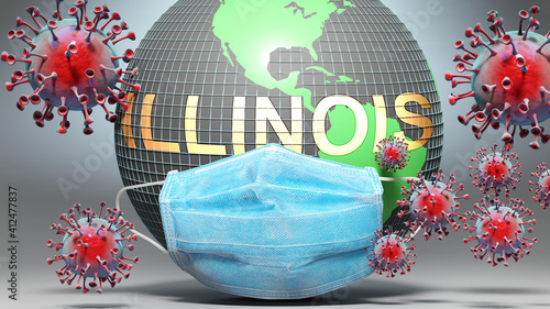 Valokuva Illinois and covid - Earth globe protected with a blue mask against attacking co