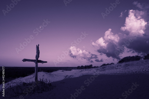 Obraz na plátne Purple landscape with wooden Cross or crucifix
