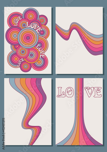 Colorful Rainbow Backgrounds, Cover, Poster Templates, Love and Colors фототапет