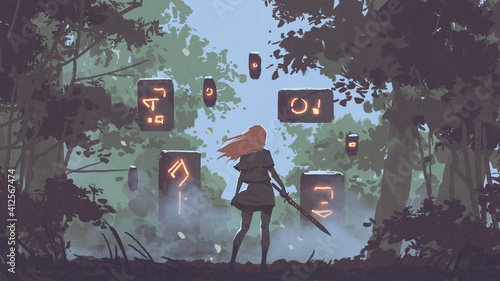 woman with her sword looking at the mysterious floating stones in the forest, digital art style, illustration painting