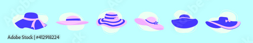 Fotografie, Tablou set of derby hats cartoon icon design template with various models