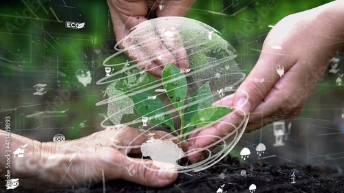 Fotografia Future environmental conservation and sustainable ESG modernization development by using technology of renewable resources to reduce pollution and carbon emission