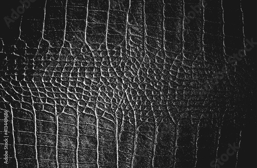 Stampa su Tela Distressed overlay texture of crocodile or snake skin leather, grunge background
