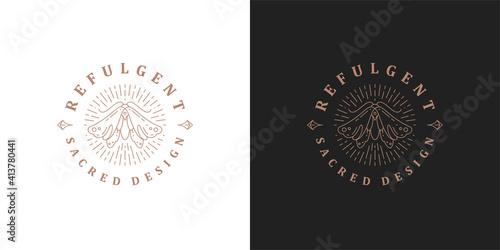 Fototapeta Wild moth logo elegant template linear vector illustration