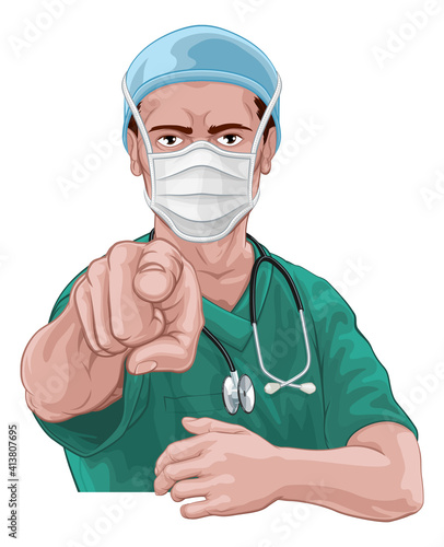 Photo A nurse or doctor in surgical or hospital scrubs and mask pointing in a your cou