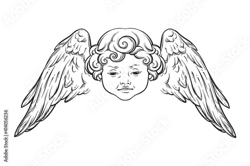 Photo Cherub cute winged curly smiling baby boy angel with rays of linght isolated over white background